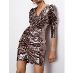 ZARA Metallic Rose Gold Ruched Mini Dress